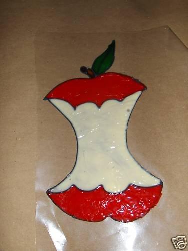 Eaten apple Faux Stained Window Cling
