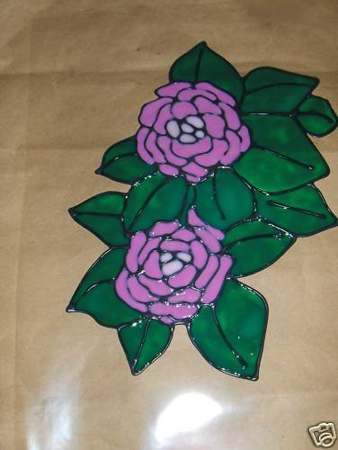 Peonies   Faux Stained Window Cling