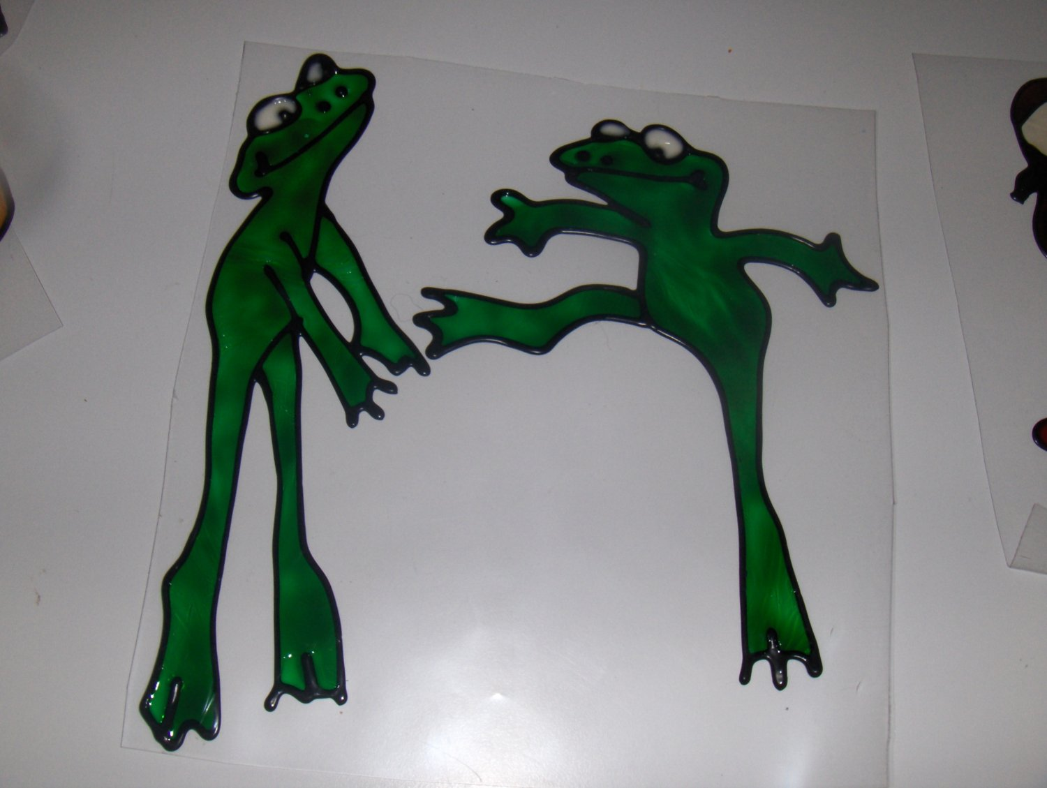 Frogs  Faux Stained Window Cling