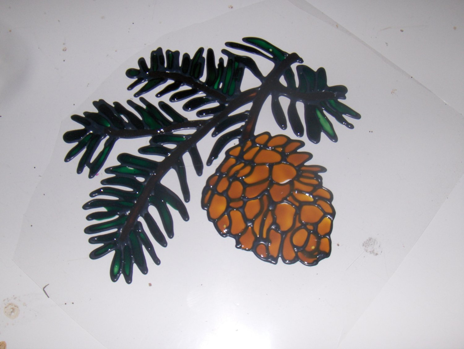 Pine Cone  Faux Stained Window Cling
