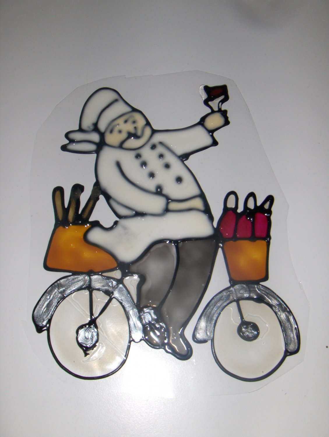 Wine Chef  #2 Faux Stained Window Cling