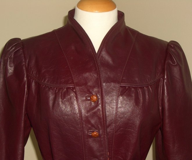 70s Oxblood Leather Belted Jacket with Mandarin Collar by Le Soleil