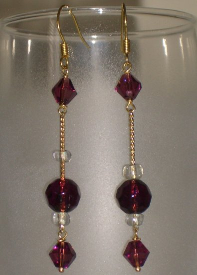 Purple Glass Bead Dangling Earrings Handmade Gold Tone Chain Chandelier