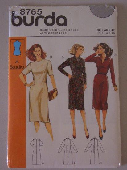 Burda Pattern 8765 Fitted Dress Size 12-14-16 Uncut Knee Length Dress