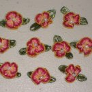 Lot of 30 Pink Gold Ribbon Flowers Rosebuds White Pearl Centre Green Leaves Sewing Craft