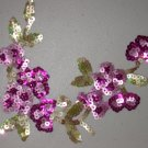 Pink Flowers Iron-on Sequins Applique with Green Leaves for Sewing Crafts