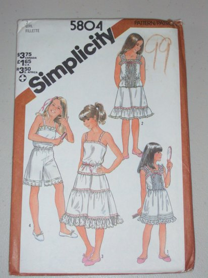 Simplicity Sewing Pattern 5804 Girls' Undergarments Size 7 Uncut Vintage Camisole Slip Culottes