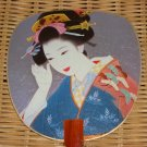 Japanese Geisha Shikishi Paperboard Fan with Bamboo Handle Asian Decoration Fancy Unique