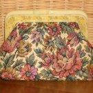 Floral Roses Metallic Tapestry Clutch Lucite Frame Vintage Purse Handbag