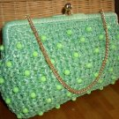 Vintage Mint Green Straw Purse Beaded Kisslock Clutch Handbag
