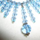 Light Blue Icicles Necklace Dainty Shiny Glittery Sparkle Glass Beads Avant Garde Flirty Feminine