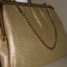 Metallic Gold Vintage Clutch Purse Gold Tone Kisslock Frame Evening Handbag
