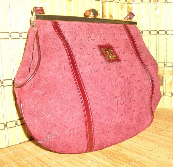 Vintage Burgundy Logo Suede Purse Kisslock Frame Handbag Made in Spain