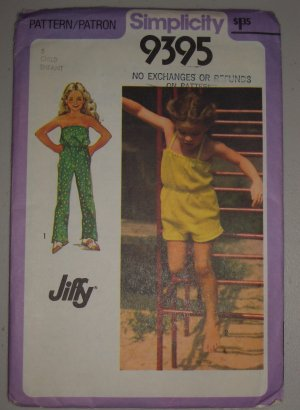 Simplicity Sewing Pattern 9395 Girls&#039; Jumper Sz 5 Uncut Child&#039;s Jiffy Jumpsuit
