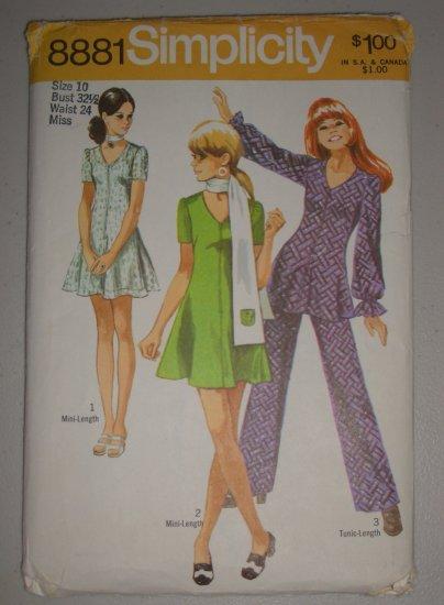 CUT Vintage Simplicity Pattern 8881 MiniDress Pants Sz 10 Women's Retro Dress Tunic Pants Scarf Set