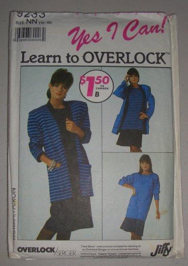 CUT Vintage Simplicity 9233 Cardigan Dress Skirt Sz 10-16 Women's 80s Knit Wear Pullover Set