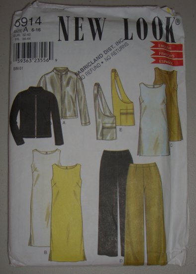 New Look 6914 Sporty Separates Size 6-8-10-12-14-16 Uncut Women's 90s Jacket Tunic Dress Pants Bag
