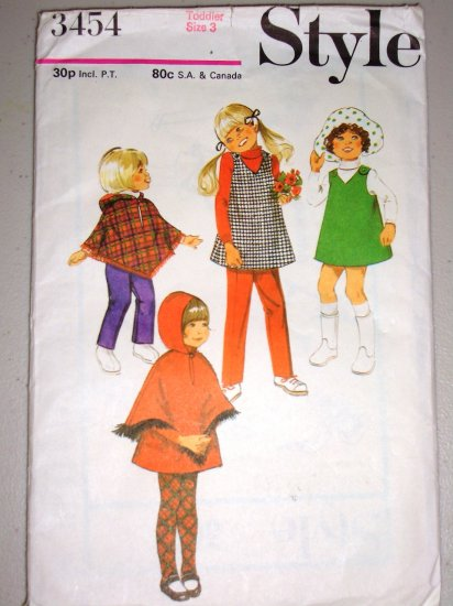 CUT Girls' Poncho Pant Pinafore Size 3 Style Sewing Pattern 3454 Retro Hooded Poncho Pant Set 70s