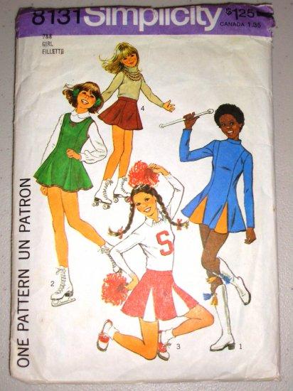 CUT Girls' Cheerleader Skating Costumes Sizes 7-8 Simplicity 8131 Flared Flouncy Jumper Dress Skirt