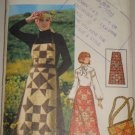 Misses' Patchwork Jumper Purse Sz 12 Retro 70s Butterick Sewing Pattern 4434 Pinafore Skirt Bag