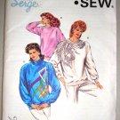 80s Glam Ladies Sweatshirts Sizes Xs-L Retro Uncut Kwik Sew Pattern 1631 Women's Tops Applique