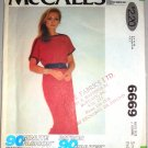 70s Bateau Neckline Knit Dress Size S Uncut McCall's Pattern 6669 Women's Boat Neck T-shirt Dress