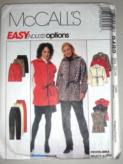 Ladies' Fleece Separates Anorak Vest Sizes 12-14 Uncut McCall's 9482 Sportswear Outfit Skirt Pants