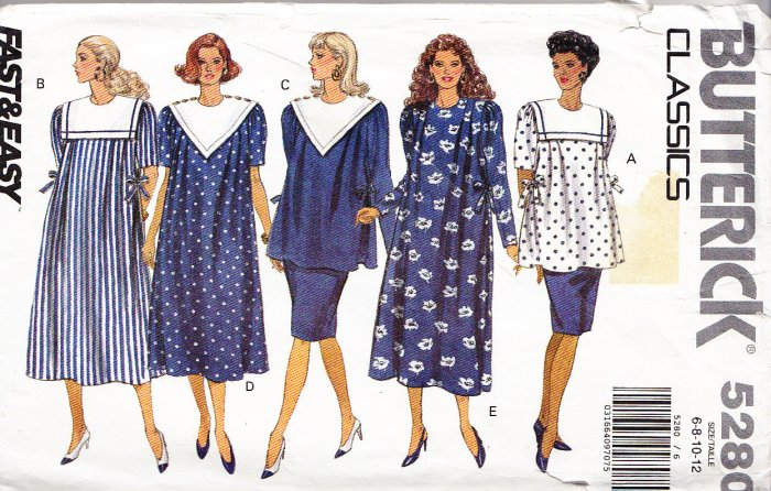 0baa95d954e Pregnancy Dress Top Skirt Size 6-12 Uncut Butterick Pattern 5280 Maternity  Set Sailor Collar Smock