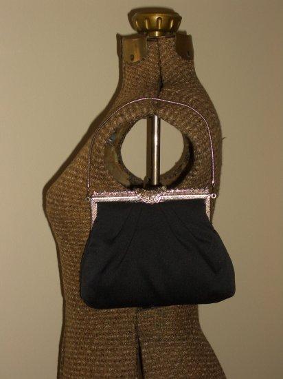 Black Satin Vintage Clutch Purse Silver Rhinestone Kisslock Frame Evening Handbag Retro Peau De Soie