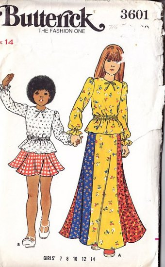 Girls' Flared Skirt Blouse Size 14 Uncut 70s Butterick Pattern 3601 Flared Gored Skirt Ruffled Top