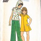 Retro Girls' 70s Knit Separates Size 14 Uncut Vintage Butterick 4079 Hooded Top Dress Flared Pants