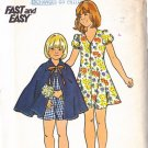 Vintage Girls' Dress and Cape Size 12 Uncut Retro Butterick 4080 Flared Dress Little Red Riding Hood
