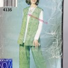 Loose Fit Casual Women's Outfit Size 6-10 Uncut Butterick 4135 Ladies' Long Vest Tunic Pull-on Pants