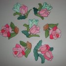 Handmade Cotton Flower Appliques Lot of 7 Cabbage Roses Tulips Hippy Bohemian Embroidered Patches