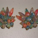 Retro Cactus Fan Clip-on Earrings Shiny Colorful Glass Bead Cluster Glitzy Chic Glamorous Flamboyant