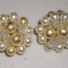 Classic Vintage Pearl Cluster Earrings Clip-on Ivory Cream Faux Pearls Clusters Elegant Evening Chic