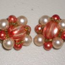 Coral White Baroque Faux Pearls Retro Cluster Earrings Clip-on Vintage Elegant Chic Ladylike Glamour
