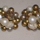 White Gold Faux Baroque Pearls Vintage Cluster Earrings Clip-on Elegant Retro Chic Feminine Glamour