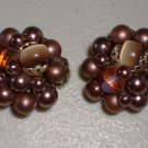 Plum Faux Pearl Cluster Earrings Vintage Clip-on Classic Elegant Retro Purple Glass Beads Femme Chic