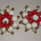Vintage Hollies Mistletoe Star Clip-on Earrings Plastic Bead Clusters Mod Festive Holiday Xmas Chic