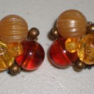 Vintage Earrings Autumn Orange Clip-on Classic Retro Mod Shades of Fall Rust Bronze Bead Clusters