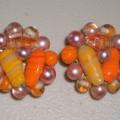 Rose Tangerine Cluster Pearl Earrings Elegant Vintage Retro Japan Clip-on Pink Orange Glass Beads
