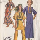 CUT 70s Hippy Dashiki Gown and Pants Size 12 Simplicity 9101 Bohemian Boho Hostess Mod Chic Ensemble