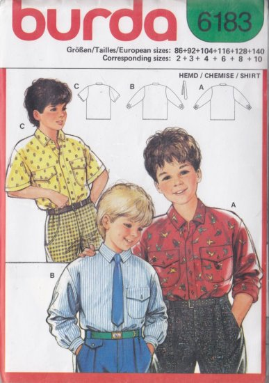 Boys' Button Up Shirt Size 2-10 Uncut Burda 6183 Retro Skinny Neck Tie Dressy Shirt Collar Placket