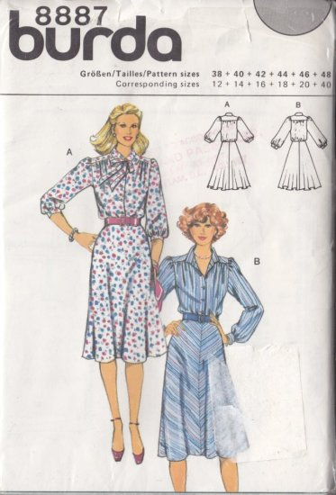 80s Indie Boho Retro Dress Size 12-40 Uncut Burda 8887 Vintage Secretary Chic Puff Gathered Sleeves