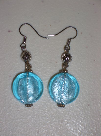 Aqua Blue Frosted Candy Earrings Chunky Round Pretty Dangling Glass Beads Elegant Feminine Charming