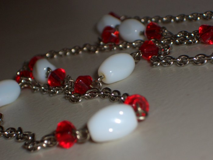 Candy Cane Glass Opera Necklace White and Red Oblong Faceted Beads Silver Chainlink Boho Hippy Glam