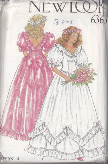Romantic Princess Bridal Gown Size 8-18 Uncut New Look 6363 Wedding Bridesmaid Dress Ruffles Bows