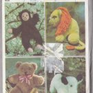 Retro Stuffed Animal Children's Toys Simplicity Sewing Pattern 8226 Bear Lion Monkey Dog 70s Crafts