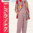 Easy Casual Separates Cardigan Pants Size 6-10 Uncut Butterick 5803 Basic Jacket Straight Trousers